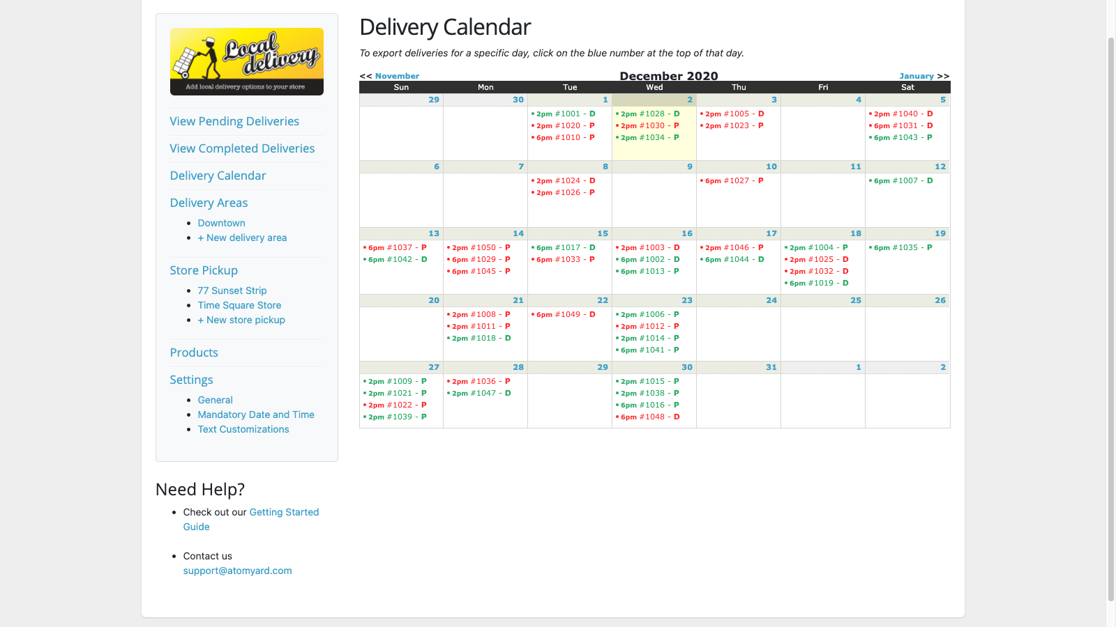 Calendar view and export makes managing your store easy