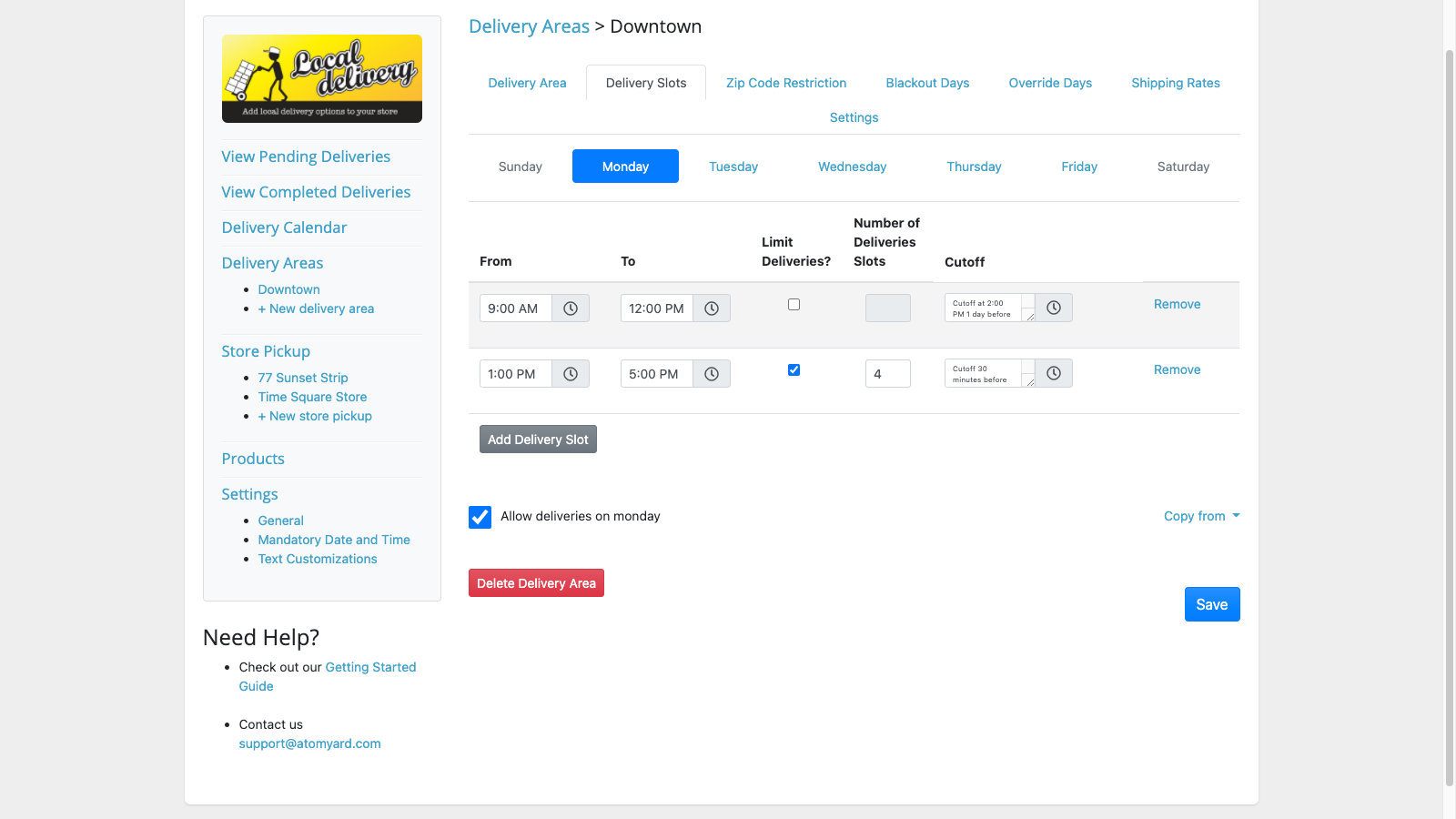 Delivery and Pickup time slots and restrictions  zip code