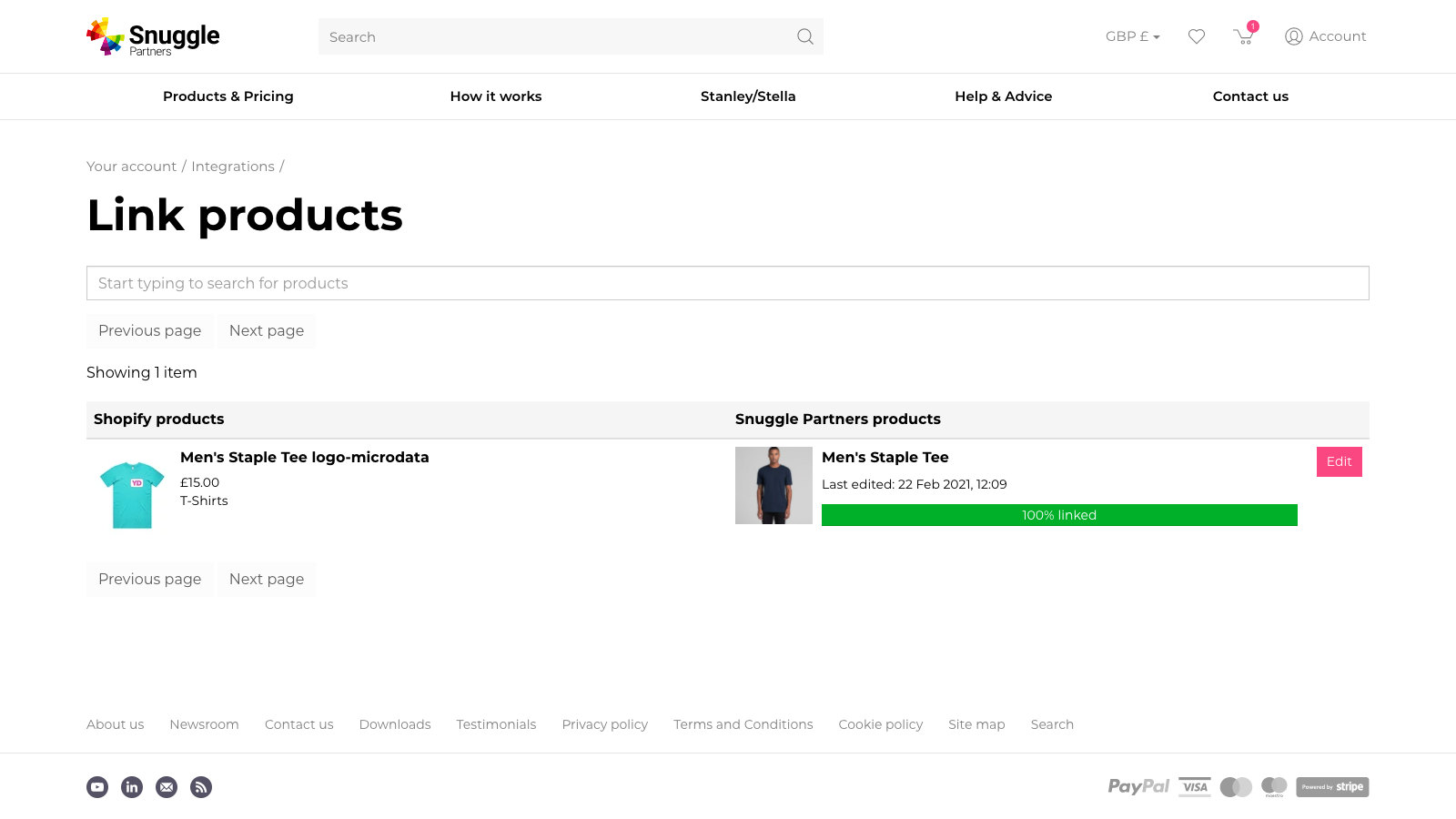 Linking products