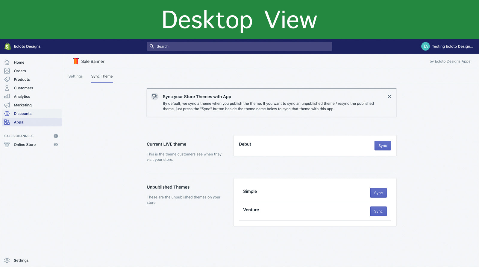 Desktop View of Sales Banner App Sync Page