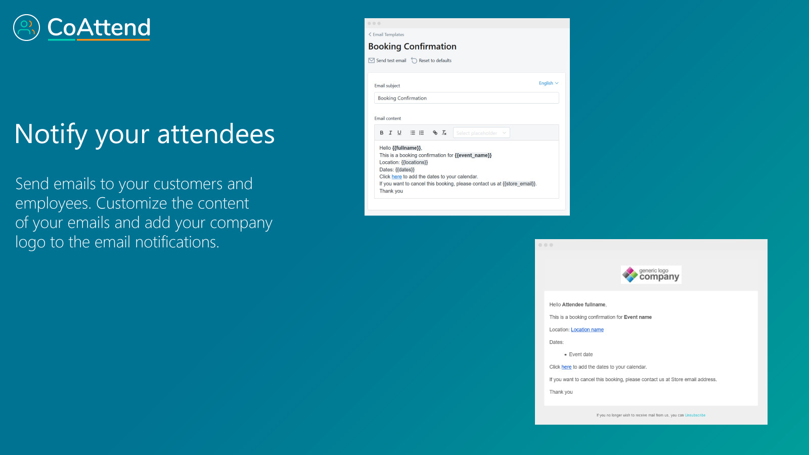 Notify your attendees, customize emails