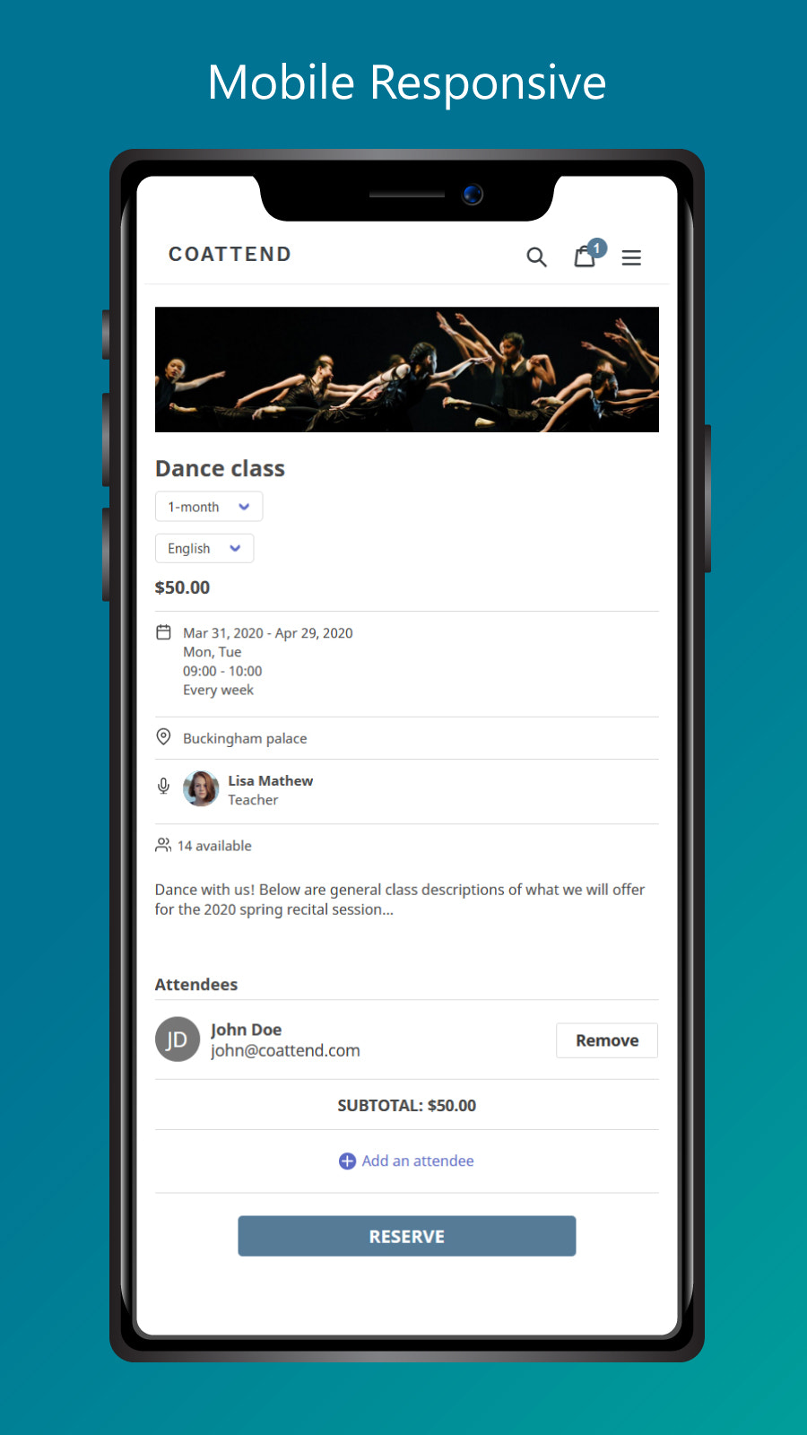 Mobile event page responsive