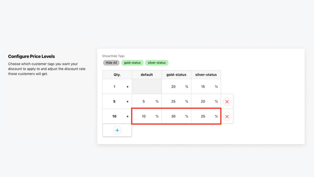 Configure price levels by customer tag with Quantity Breaks