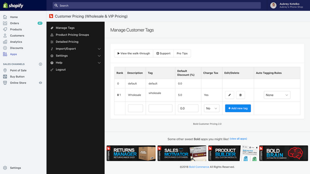Apply wholesale tags to customers for automatic discounts