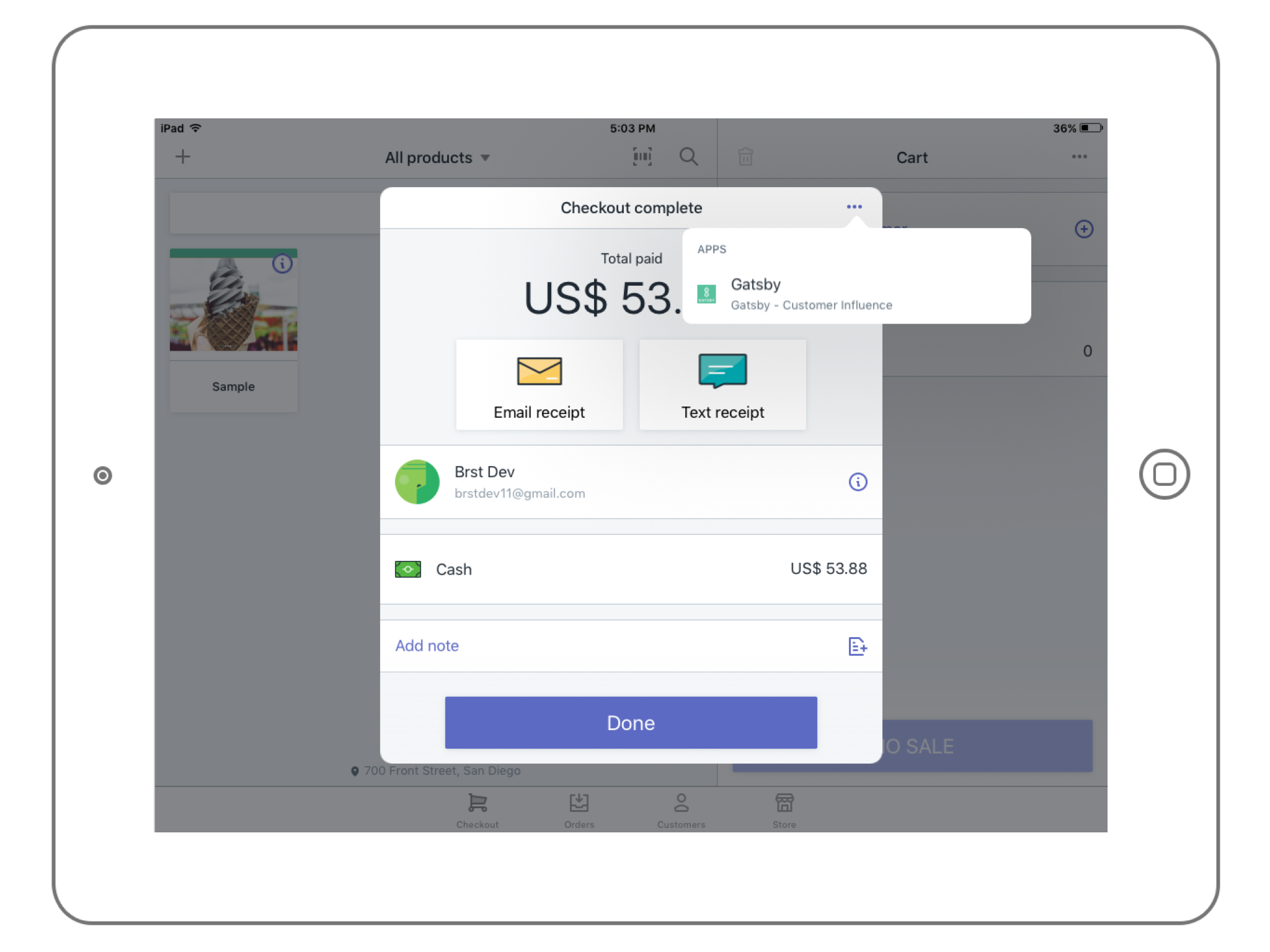 Gatsby is available on Shopify POS