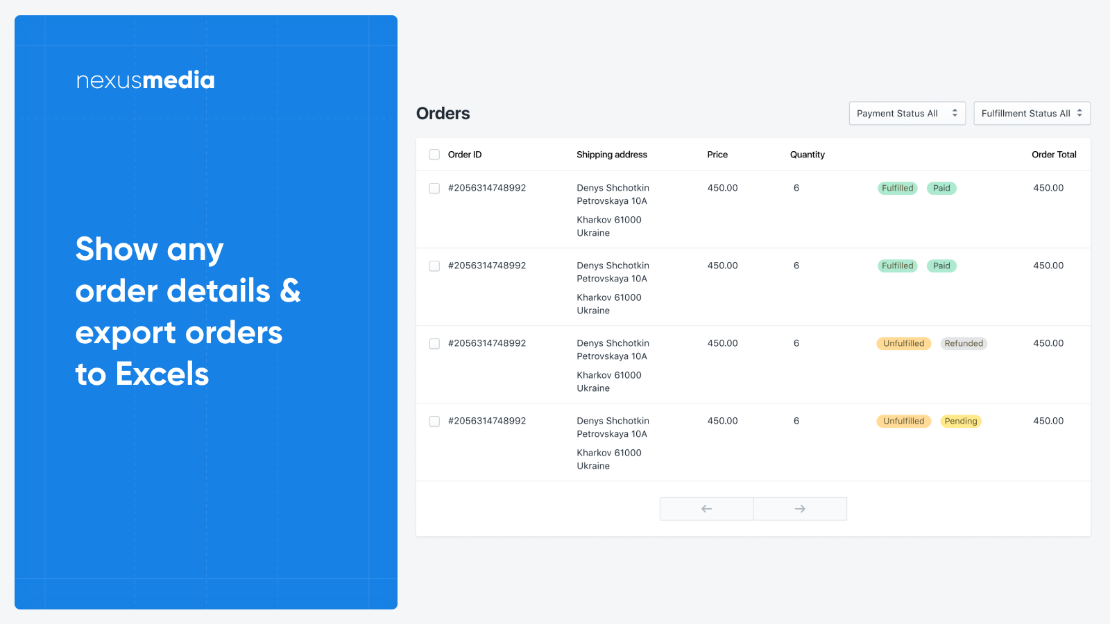 Show any order details & export orders to Excels, CSV, XLS
