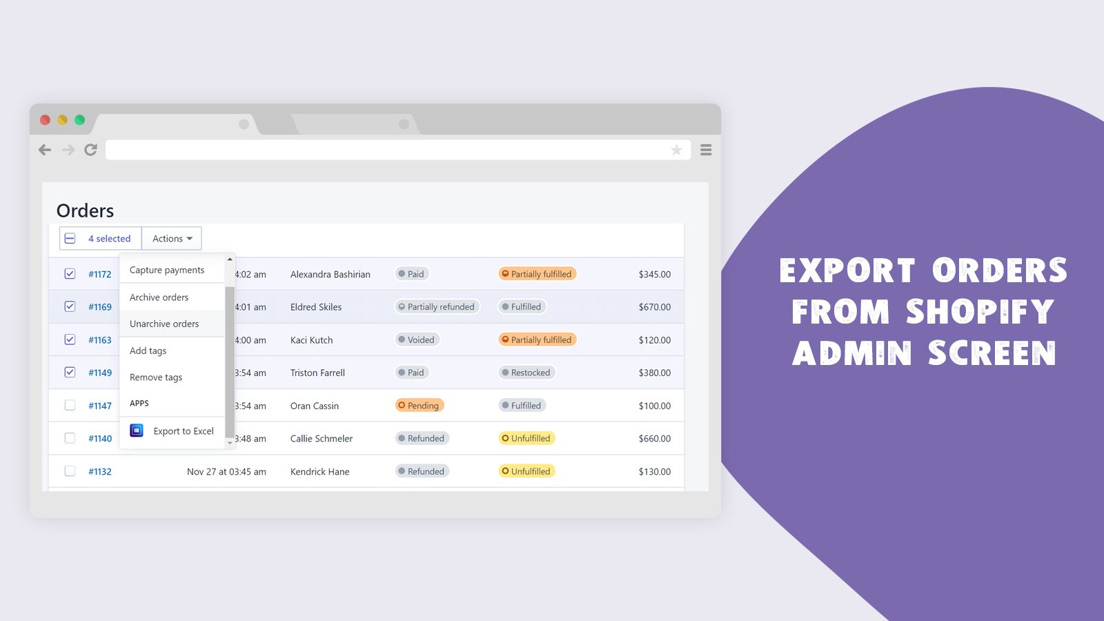 Export orders from Shopify Admin Screen