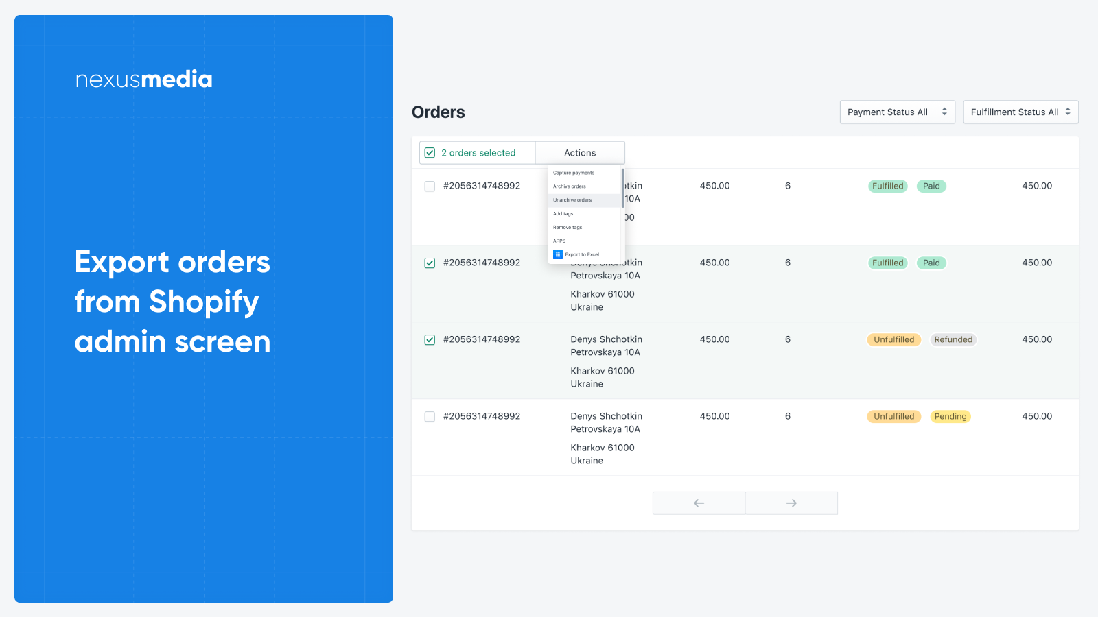 Export orders to CSV, XLS directly from Shopify admin screen