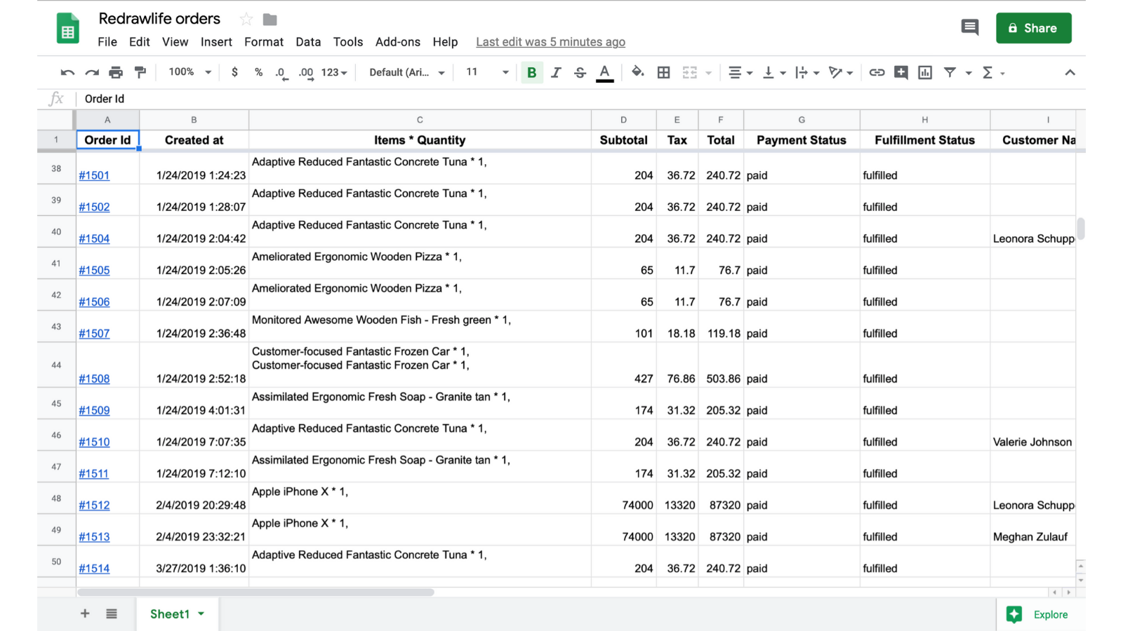 sample generated google sheets : Order Reports