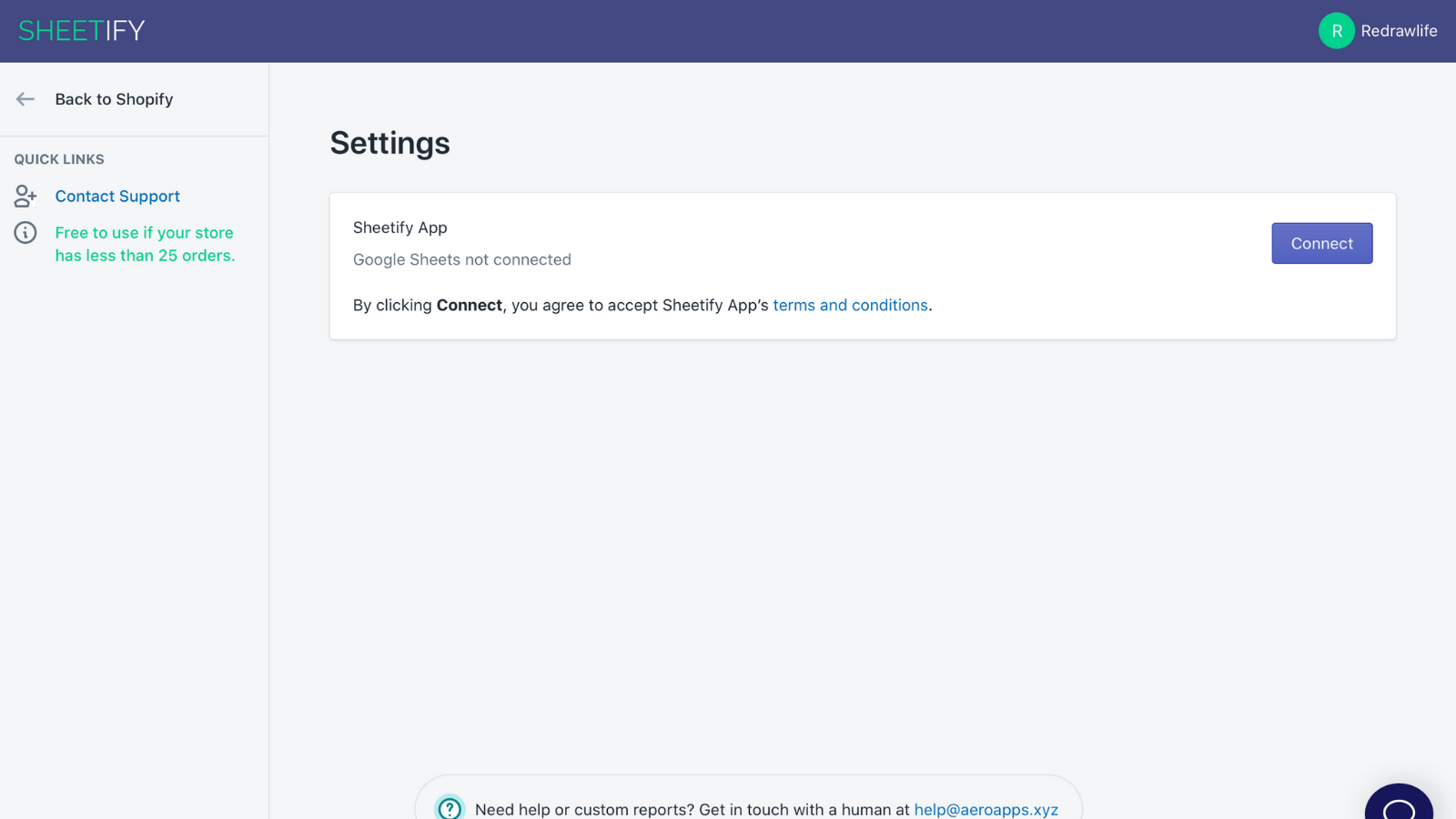 Sheetify Login Page : Order Reports