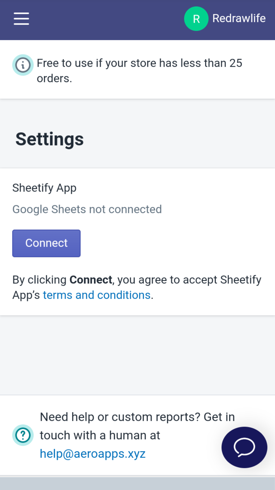Mobile Sheetify Login Page :  Order Reports