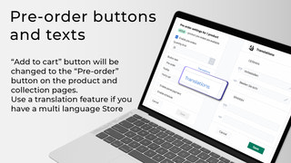 Pre-order buttons and texts
