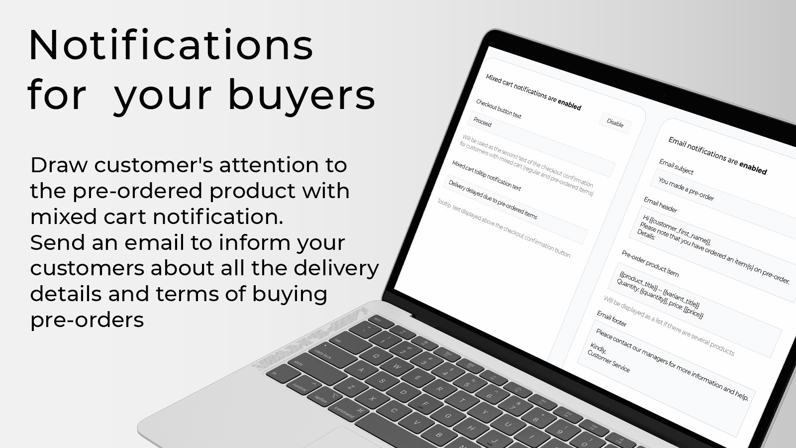 Notifications for your buyers