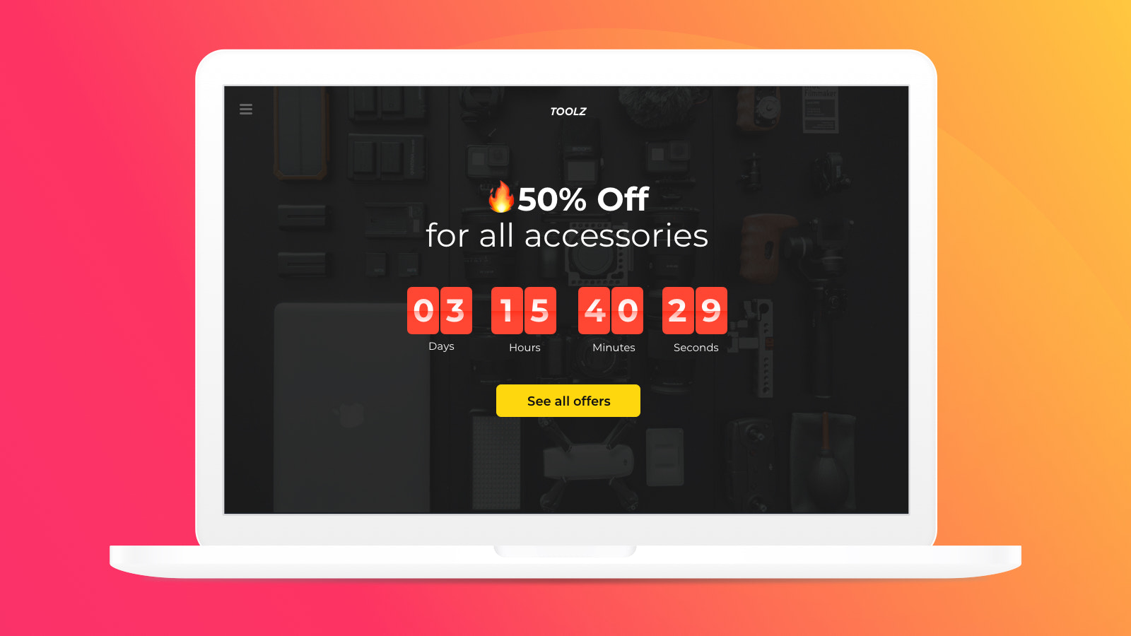 Countdown timer with clean design to fit into any website design