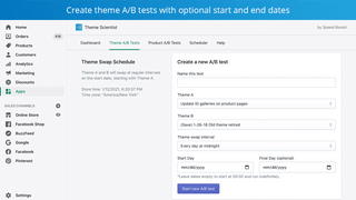 Easily create shopify theme a/b tests