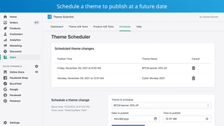 Schedule a theme to publish in the future at a specific time