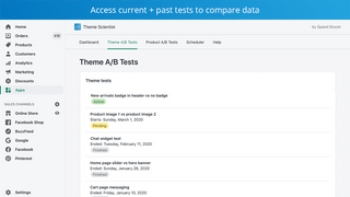 Access current and past A/B tests and compare results