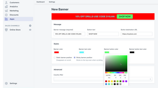 Customizable banners with a web designer color picker