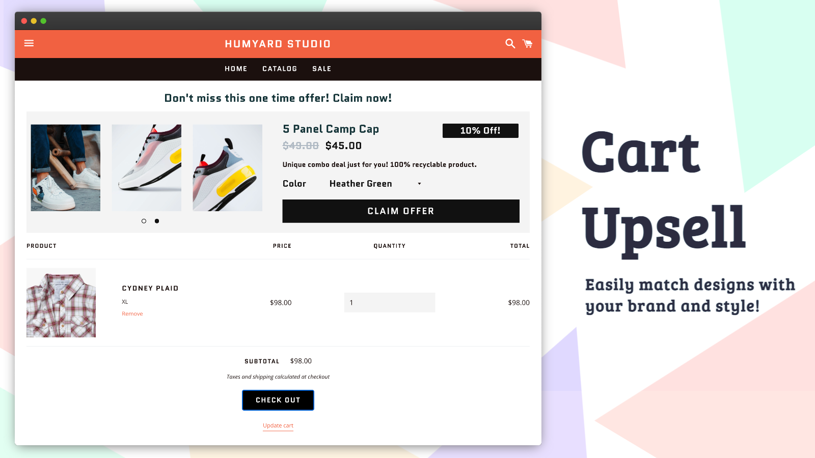 In cart upsell