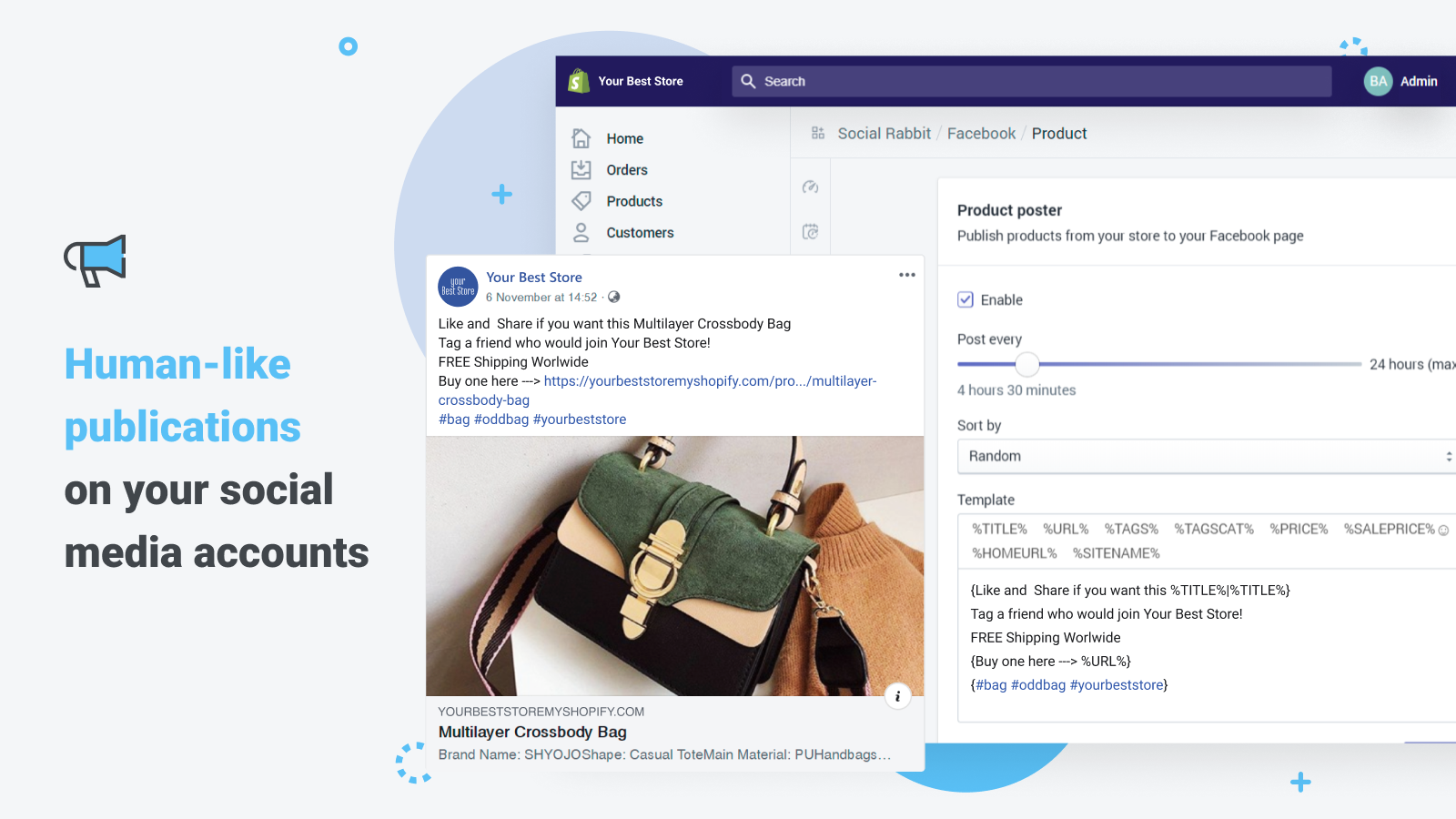 Auto-post human-like publications on your social media accounts