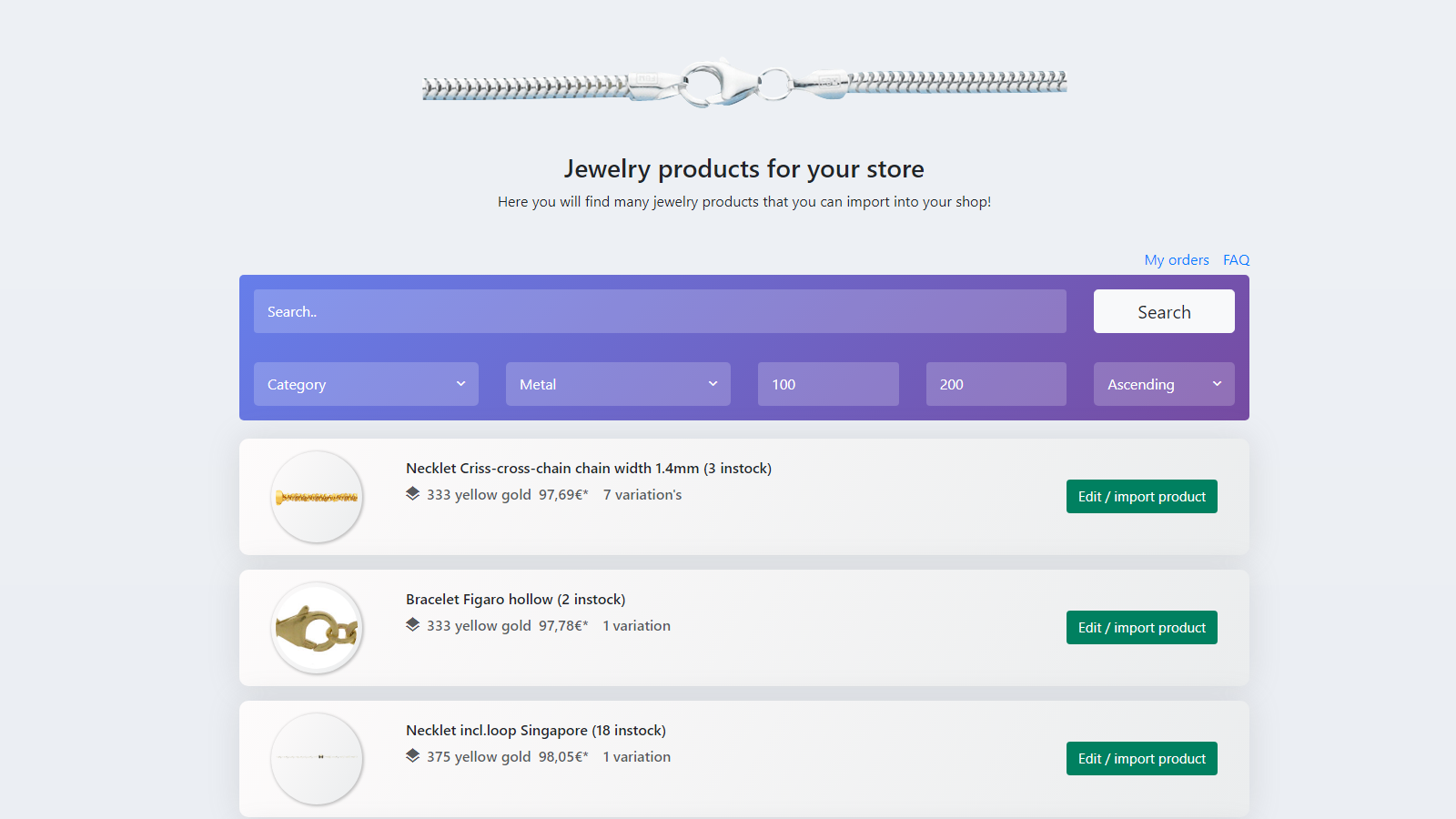 jewelery products database for shopify