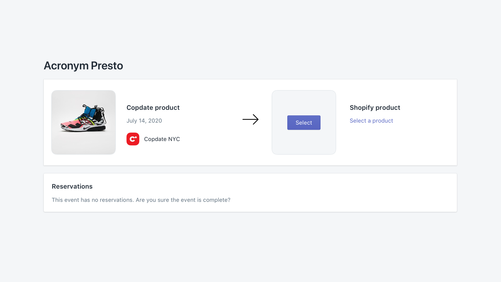 Select your inventory directly on Shopify