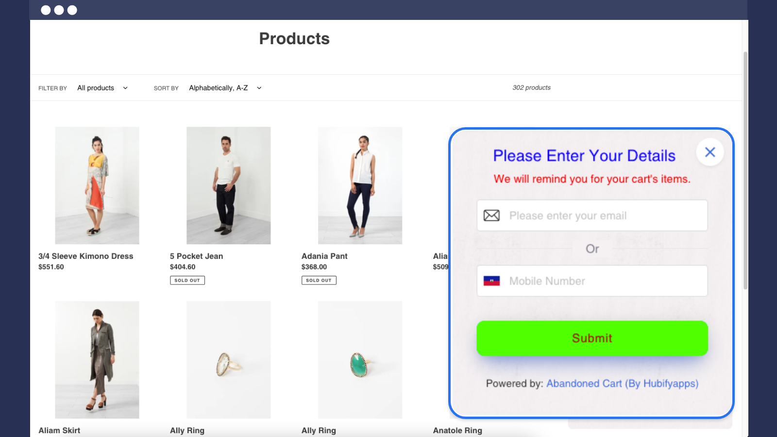 popup on the product page