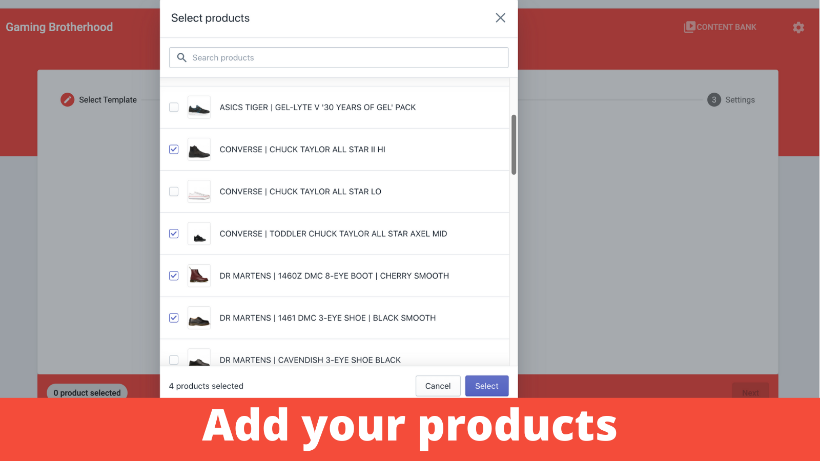 Add your products