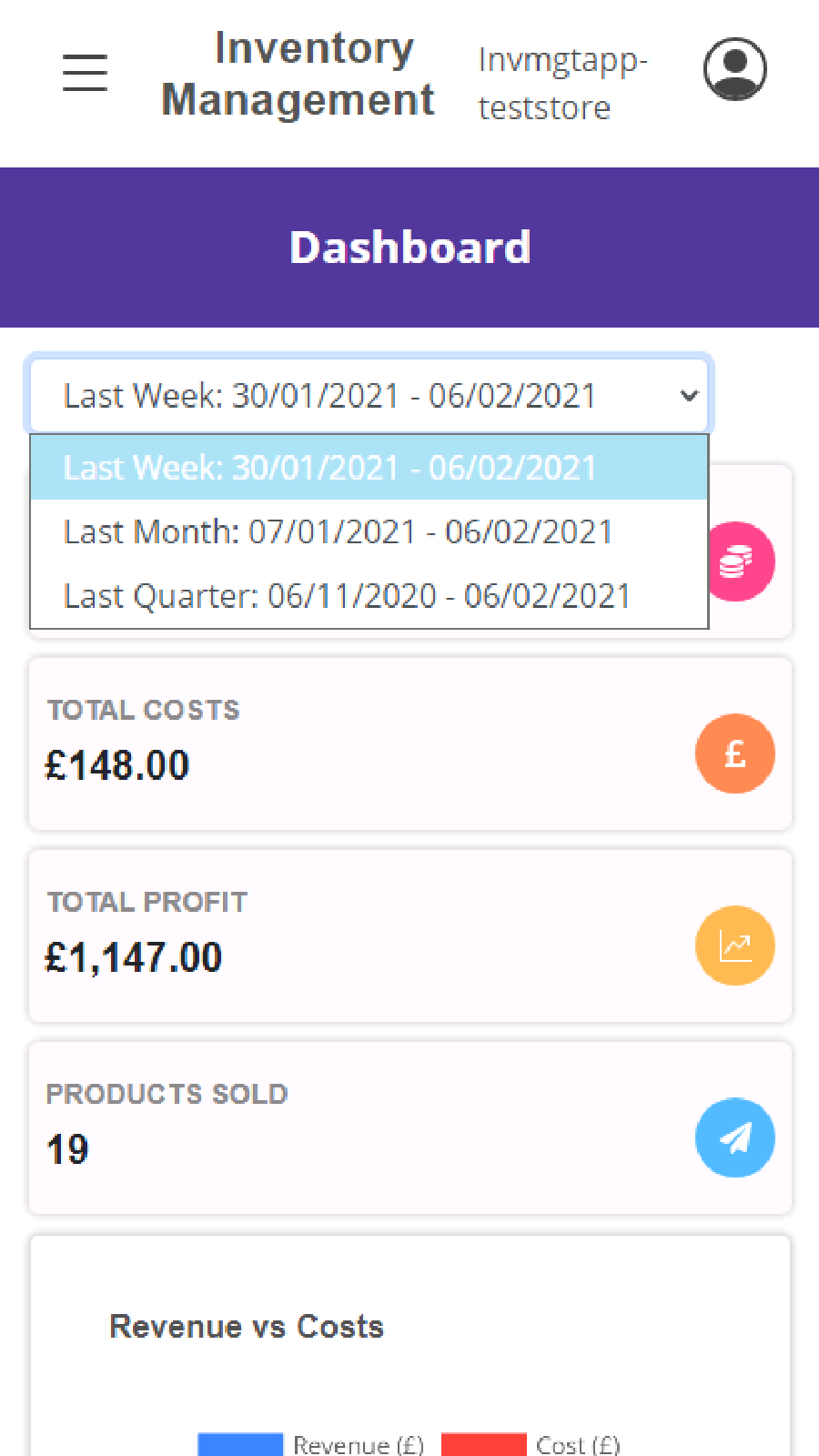 Xune Inventory management application dashboard options
