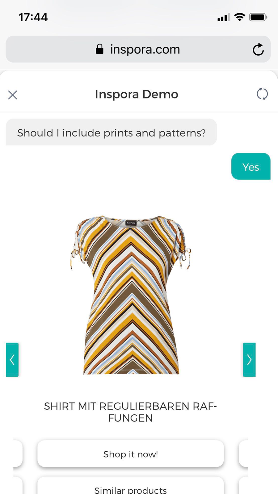 Fashion product recommendations and similar fashion products.