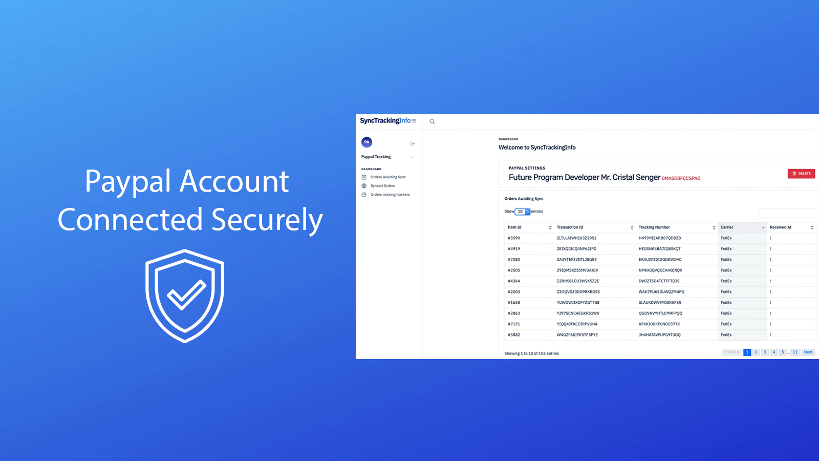 Paypal Account connected securely