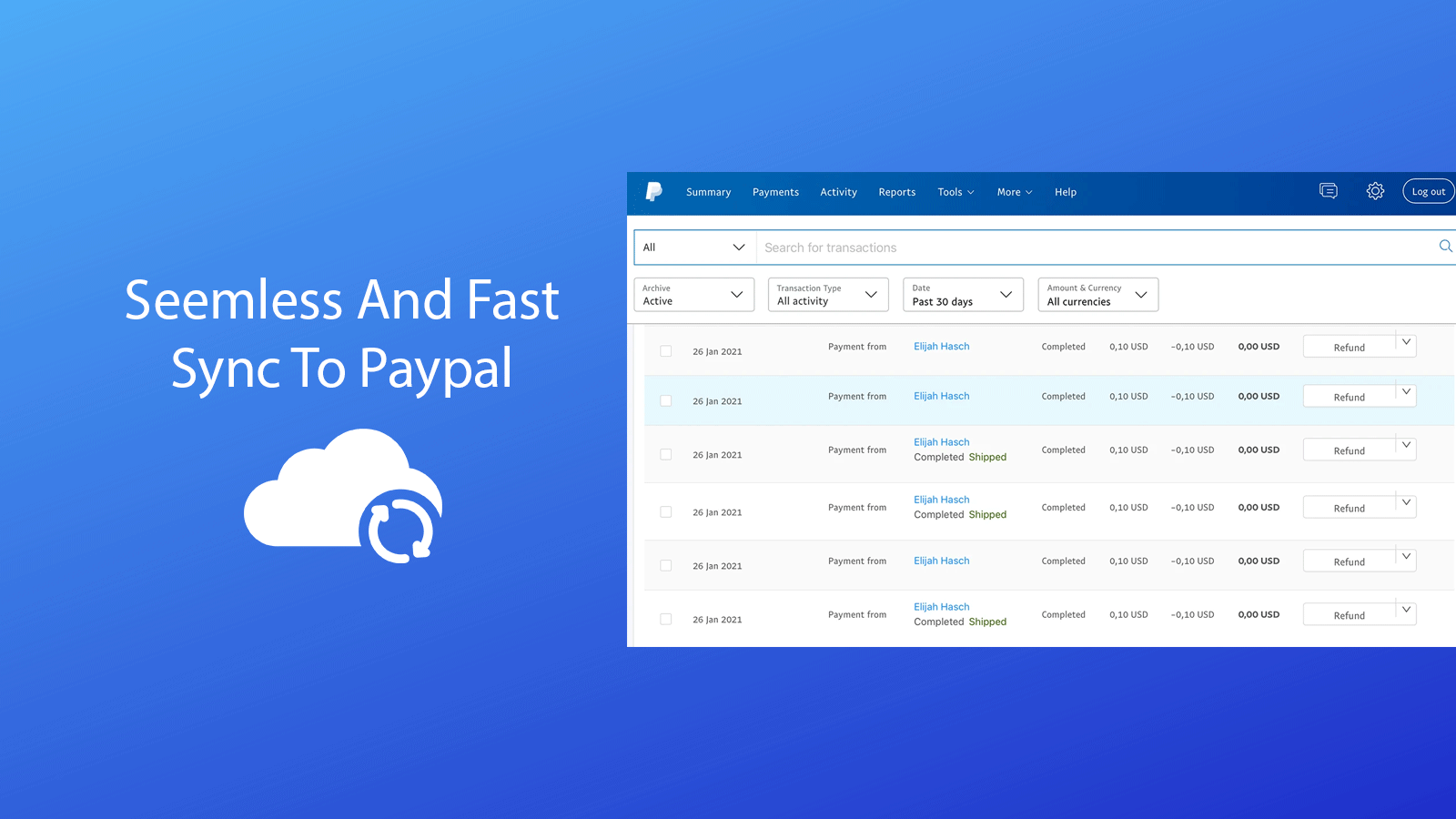 Seemless and fast Tracking Sync to Paypal