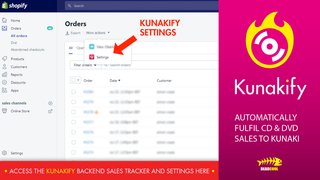 Access the Kunakify backend sales tracker and settings here