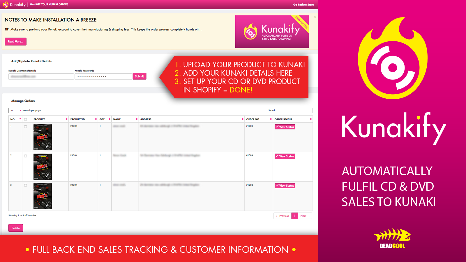 Full back end sales tracking and customer information