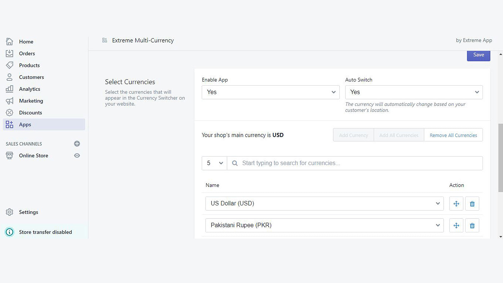 currency converter setting
