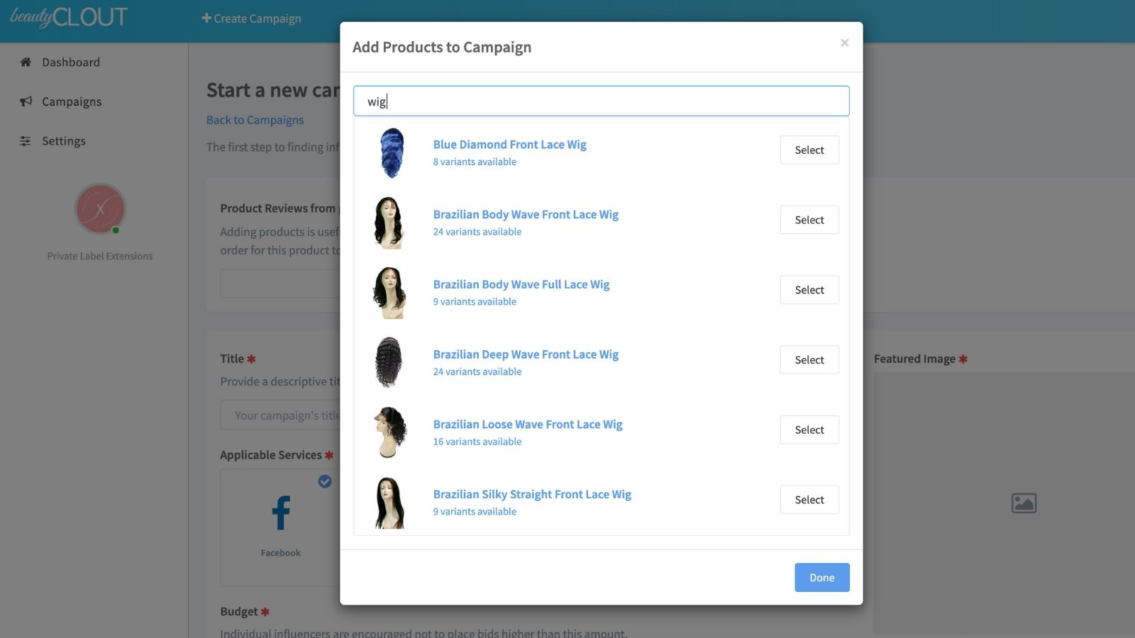 Products Quickly Import into App for Easy Campaign Creation