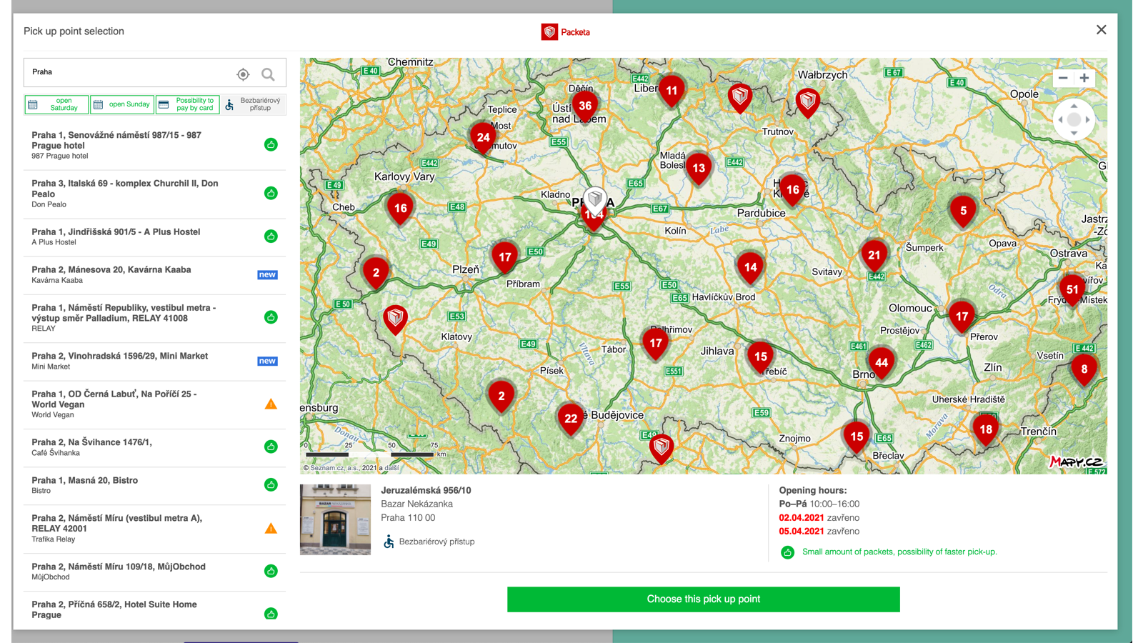 Modal for the selection of the pickup point. With a map and list