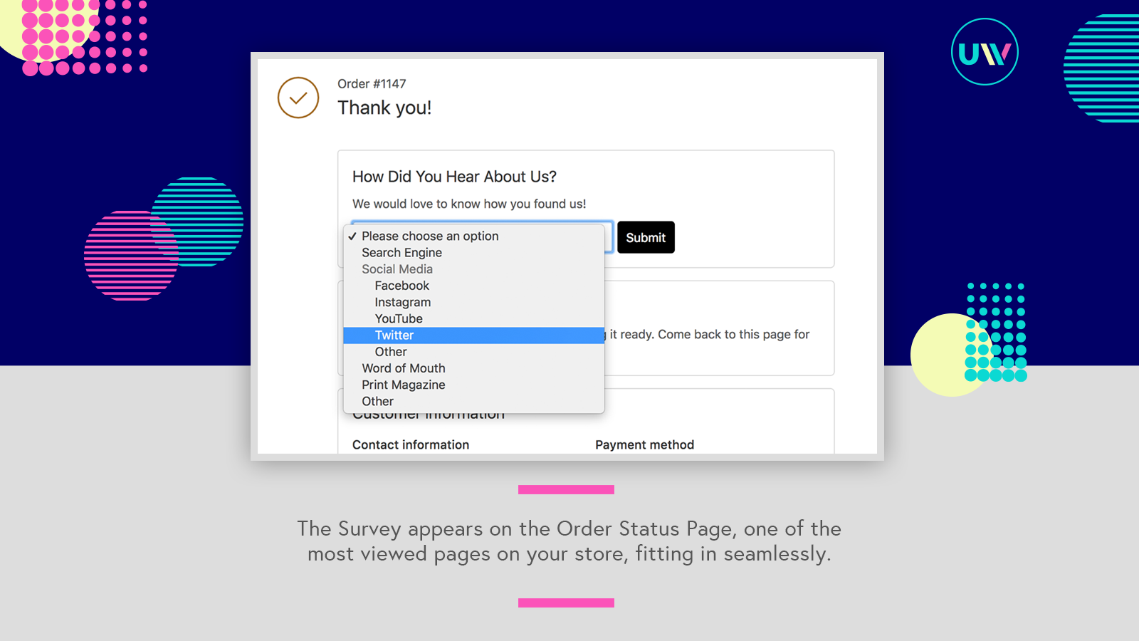 The Survey widget on the Order Status Page