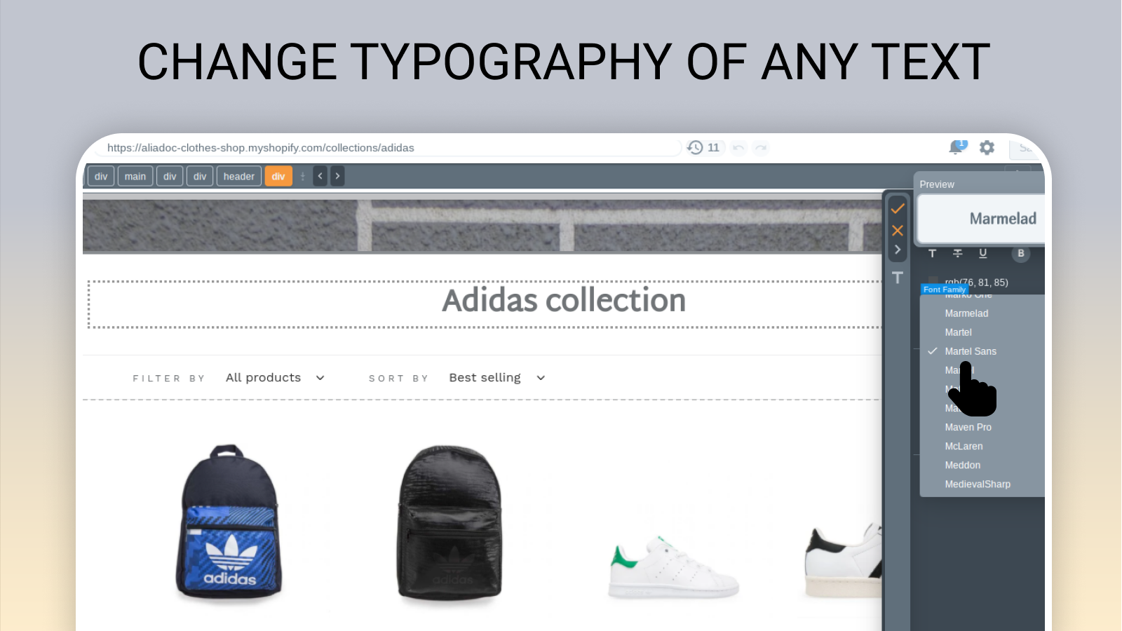 Change typography of any piece of text