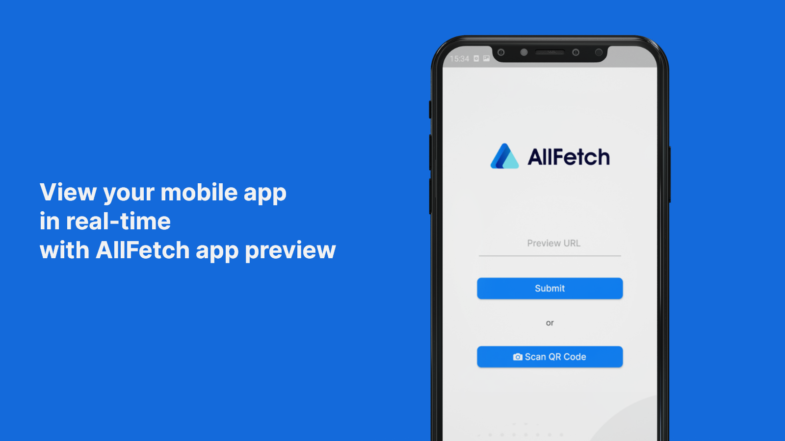 View your mobile app in real-time with AllFetch app preview