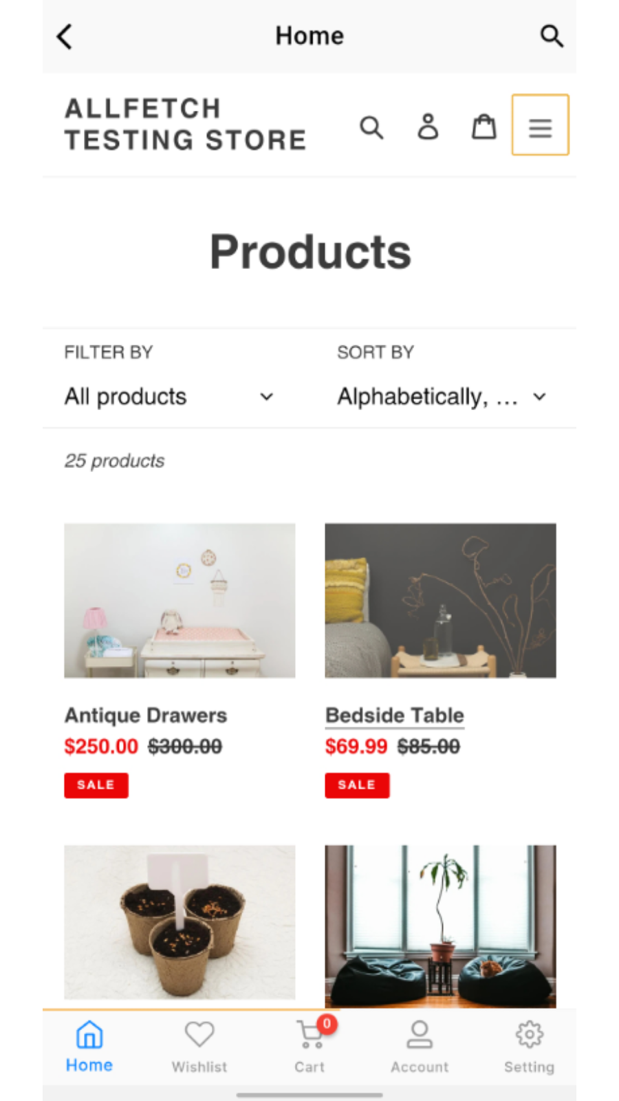 Mobile app - Catalog page