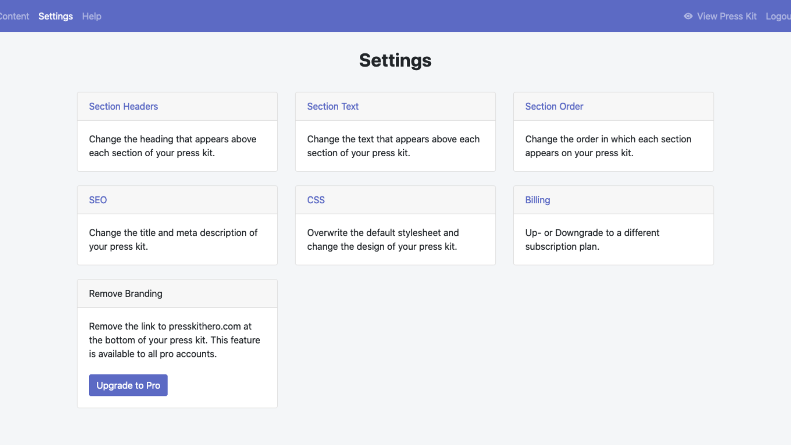 Settings view of the app