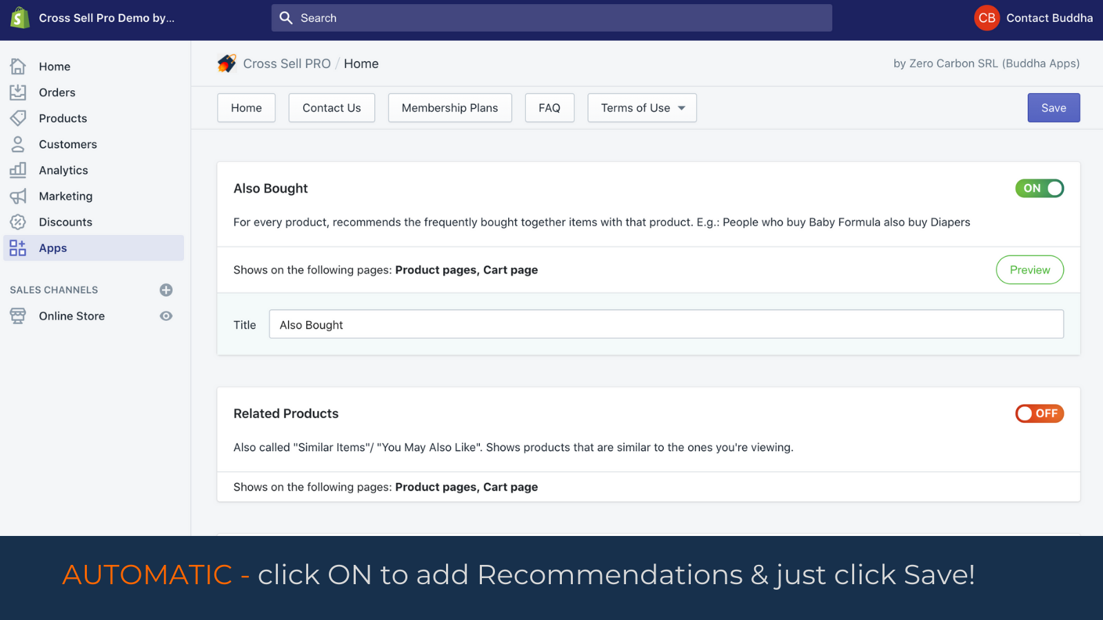 Manual Recommendations Upsells Home, Page, Collection, Cart page