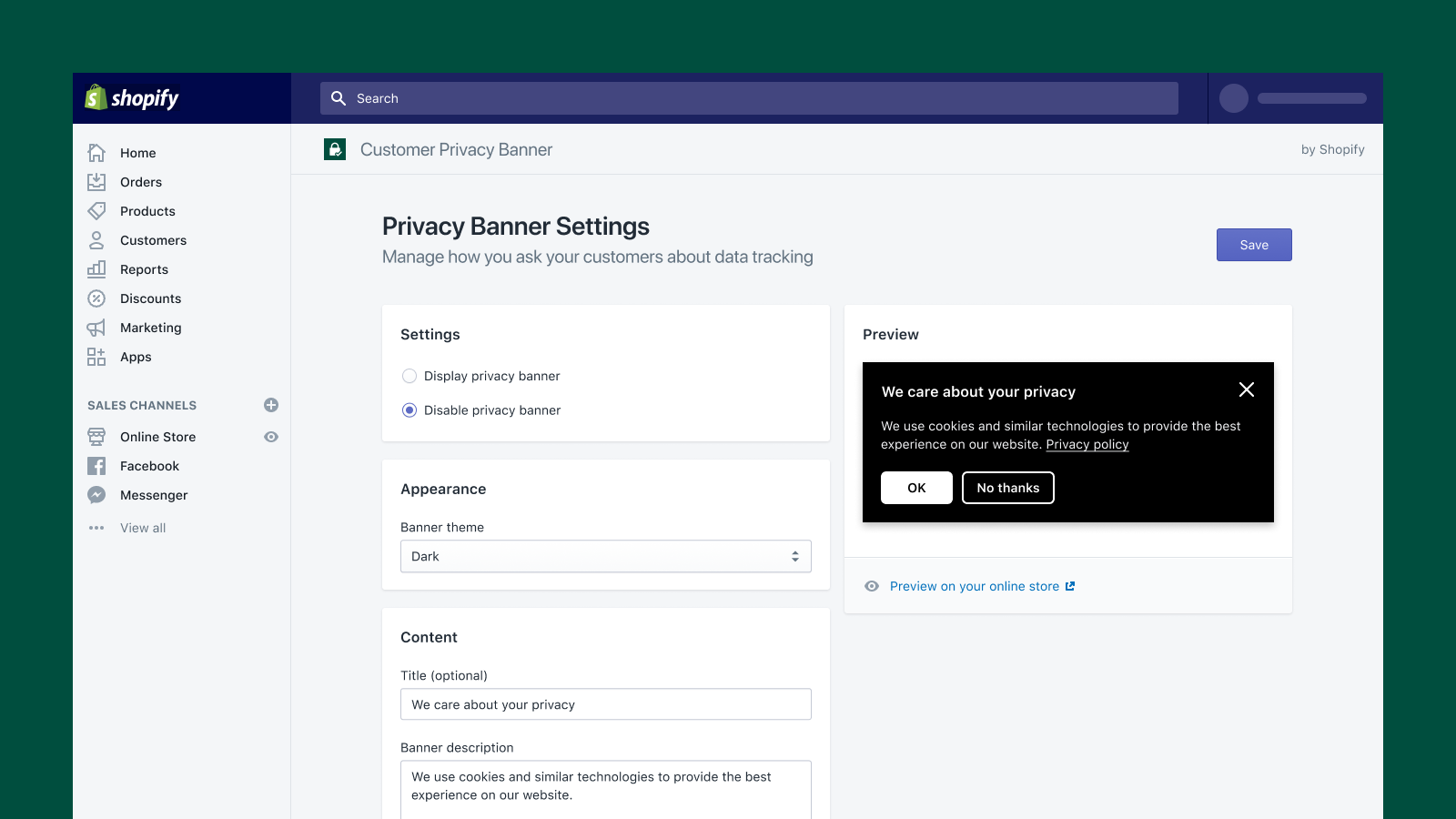 Change your banner to dark mode in the Shopify admin.