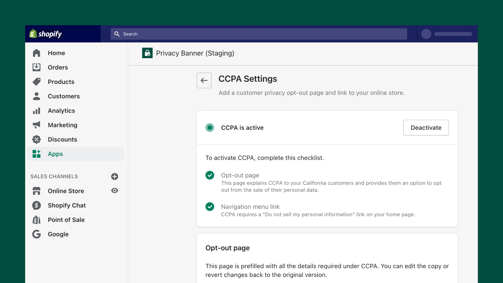 Create a CCPA Opt Out Page for your Shopify store.