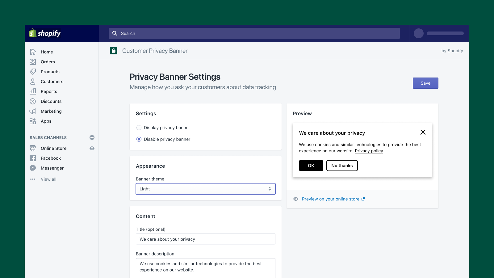 Change the copy and style of your banner in your Shopify admin