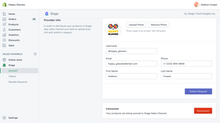 Complete your profile in Stage Sales channel