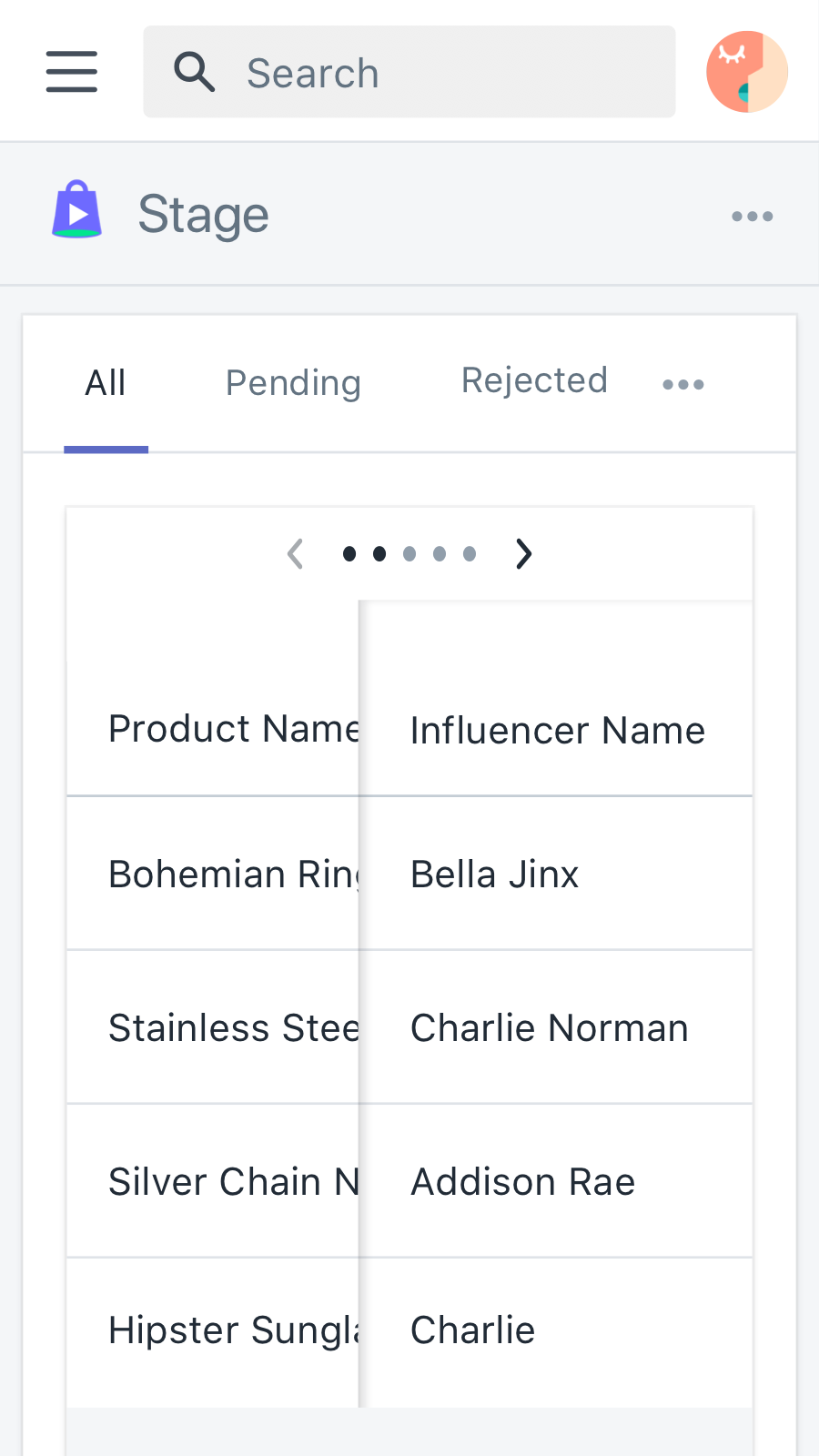 Sort sample requests by Influencers to showcase your products