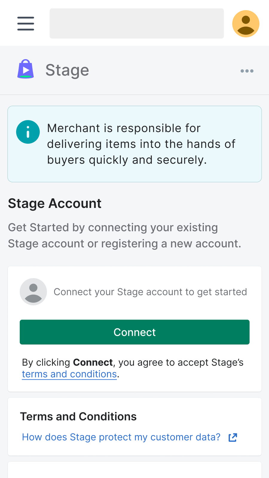 Connect with Stage by clicking on the connect button
