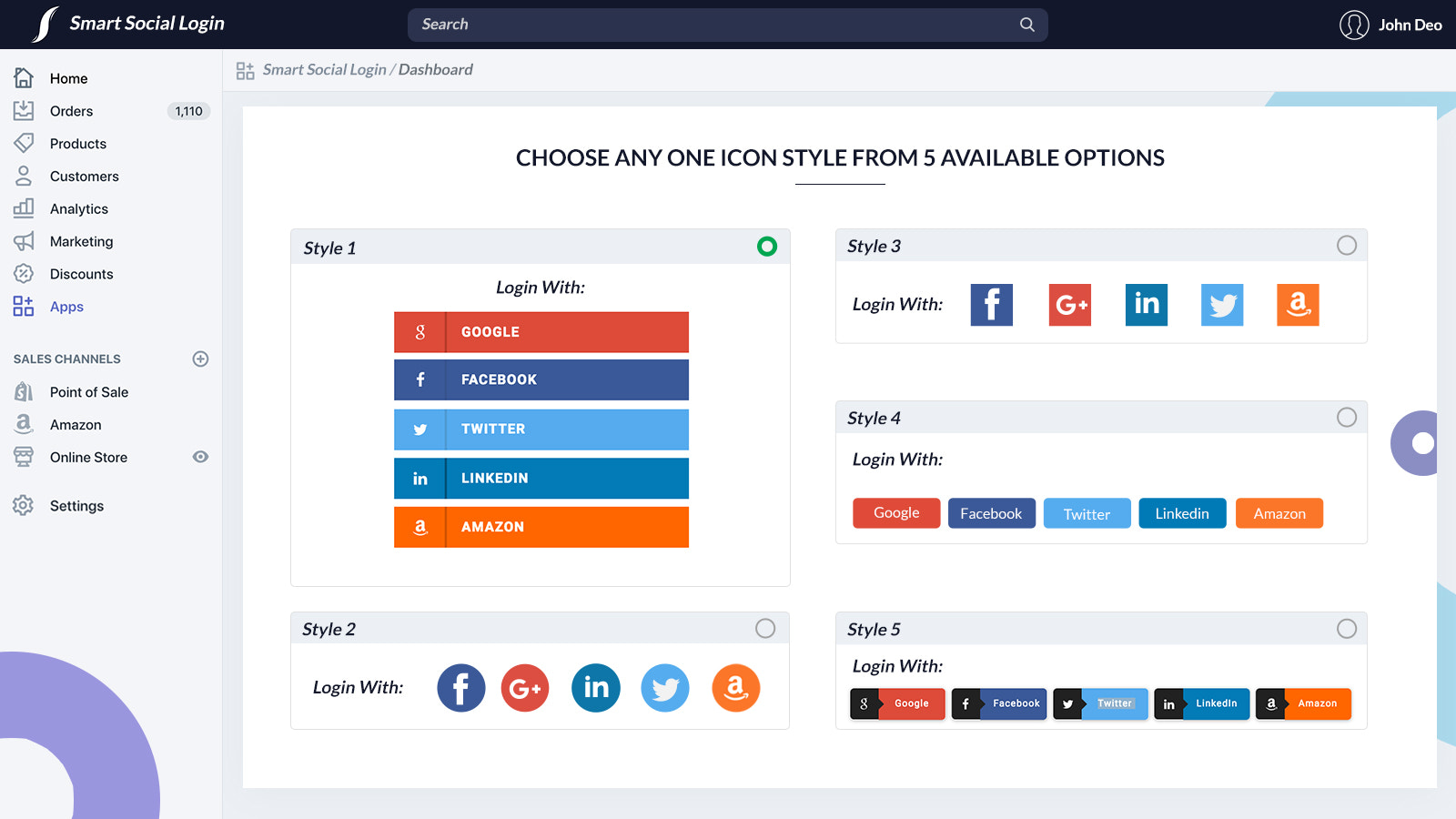 Choose social icons style